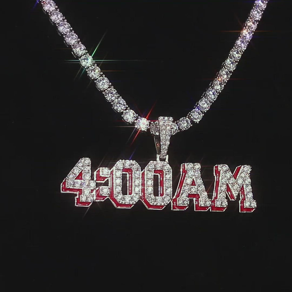 KRKC Iced Out 4AM Pendant Necklace in White Gold