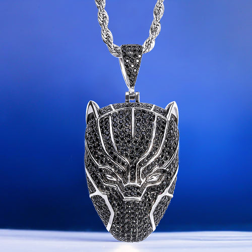 Hip Hop Iced Black Panther Pendant Necklace-krkcom