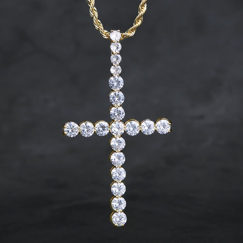 14K Gold Big Ice Out Cross Pendant Necklace-krkcom