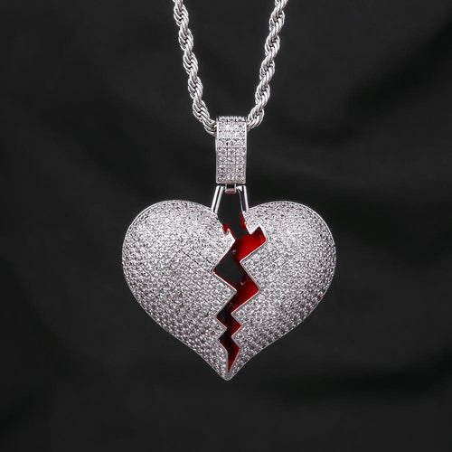 Iced Single Broken Heart Pendant White Gold Plated-krkcom