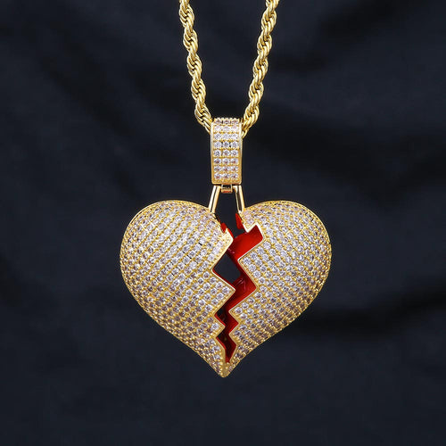 14K Gold Iced Out Single Broken Heart Pendant Necklace-krkcom