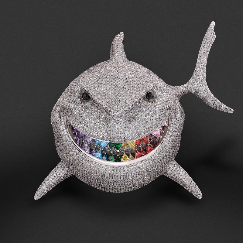 iced shark pendant with rainbow teeth -KRKC&CO