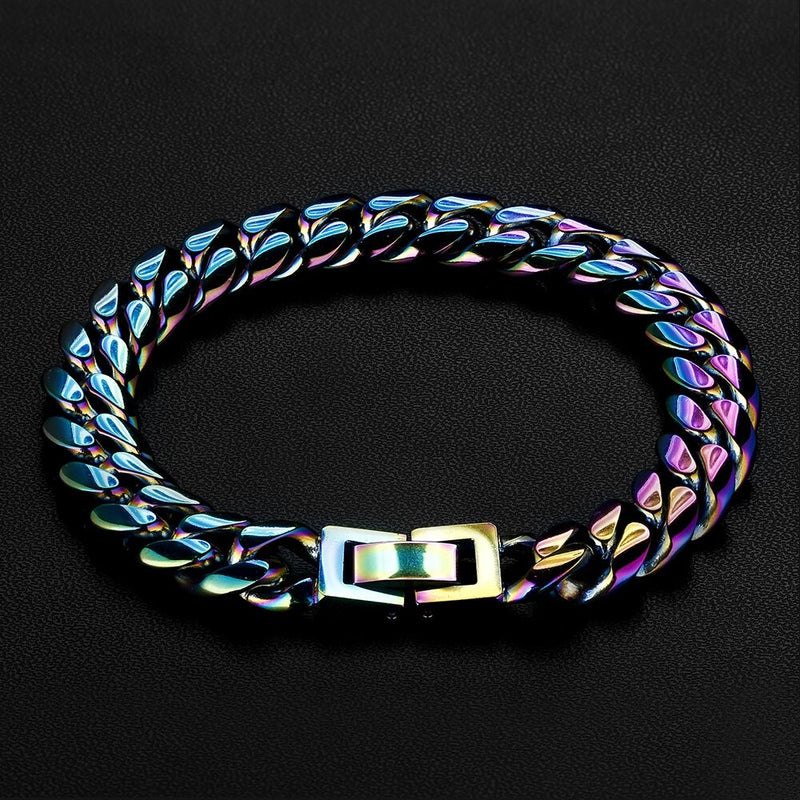 10mm Rainbow Miami Cuban Link Bracelet-krkcom