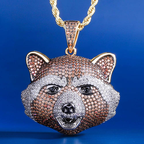 14K Gold Multicolored Iced out Rocket Raccoon Pendant Necklace-krkcom