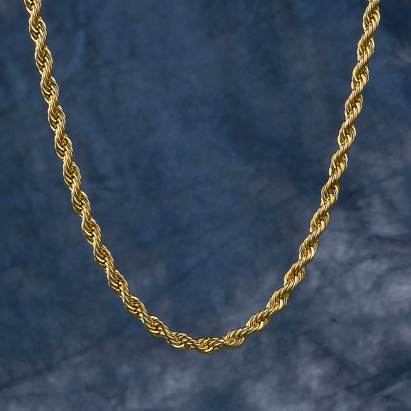 3mm 14K Gold Rope Chain For Men-krkcom