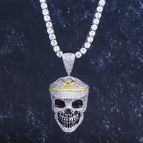 Iced Skull With Military Cap Pendant in White Gold-krkcom