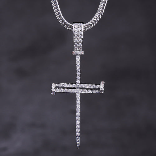 White Gold Ice Out Mens Nail Cross Pendant Necklace-krkcom