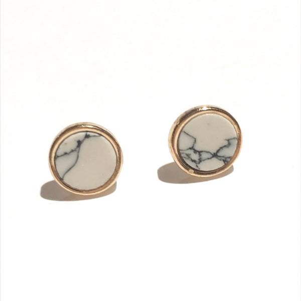 Round Marble Earrings Gold