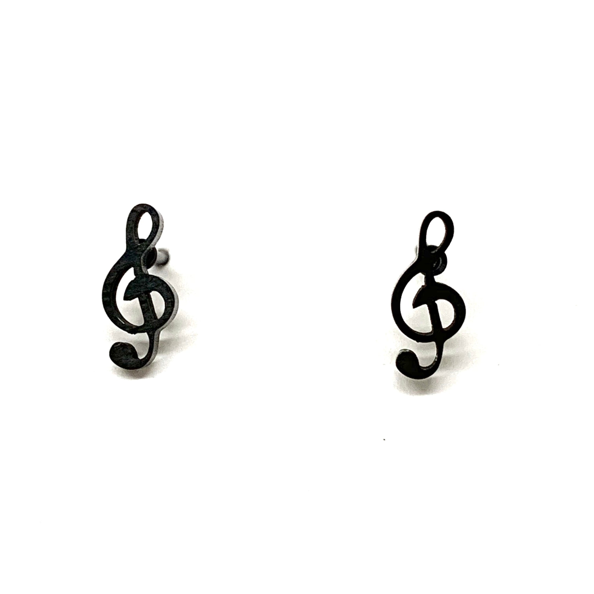 Black Music Note Earrings