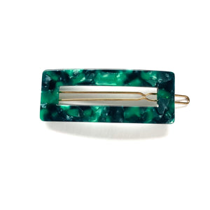 Shades of Green Rectangle Hair Clip