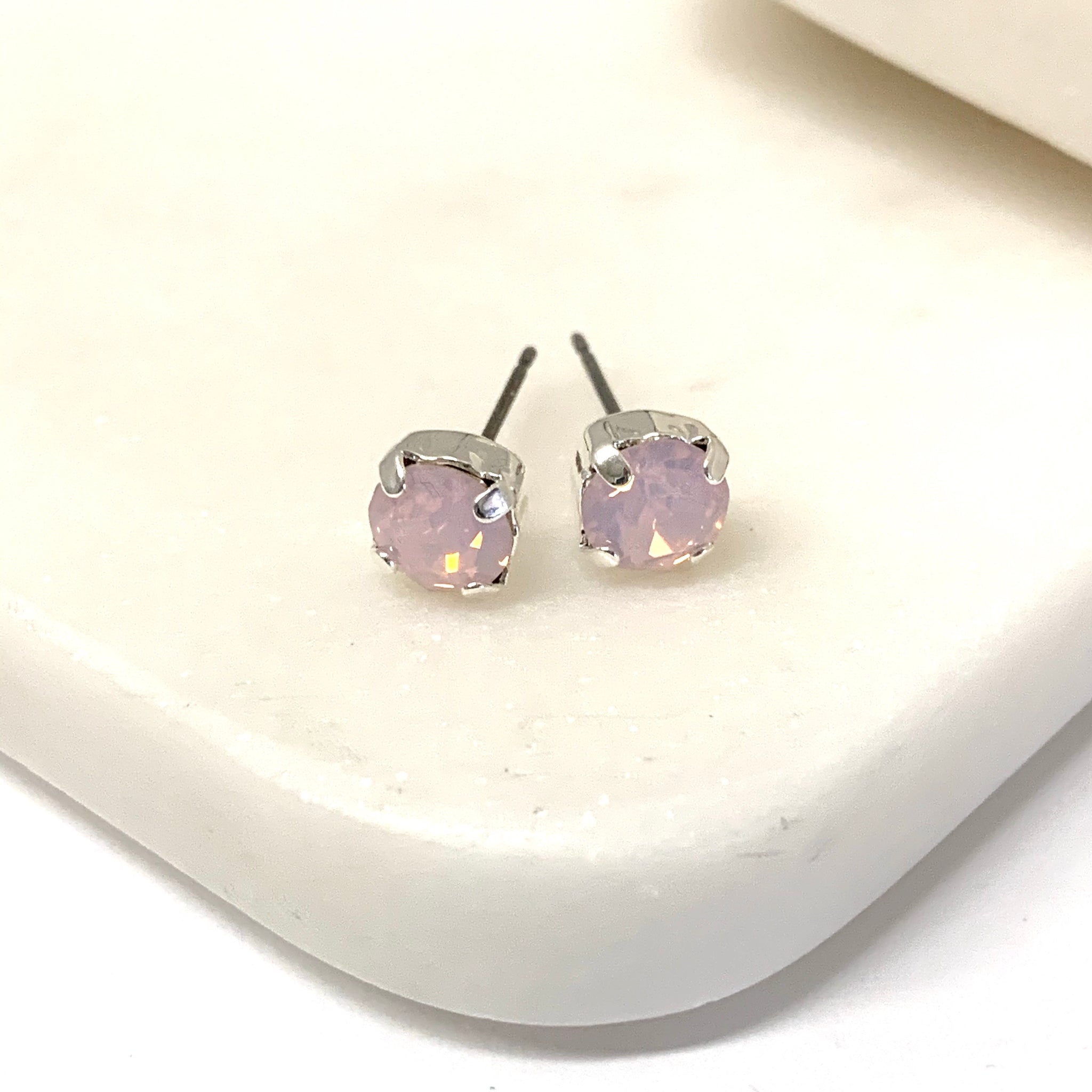 Rose Swarovski Silver Ear Jacket Earrings