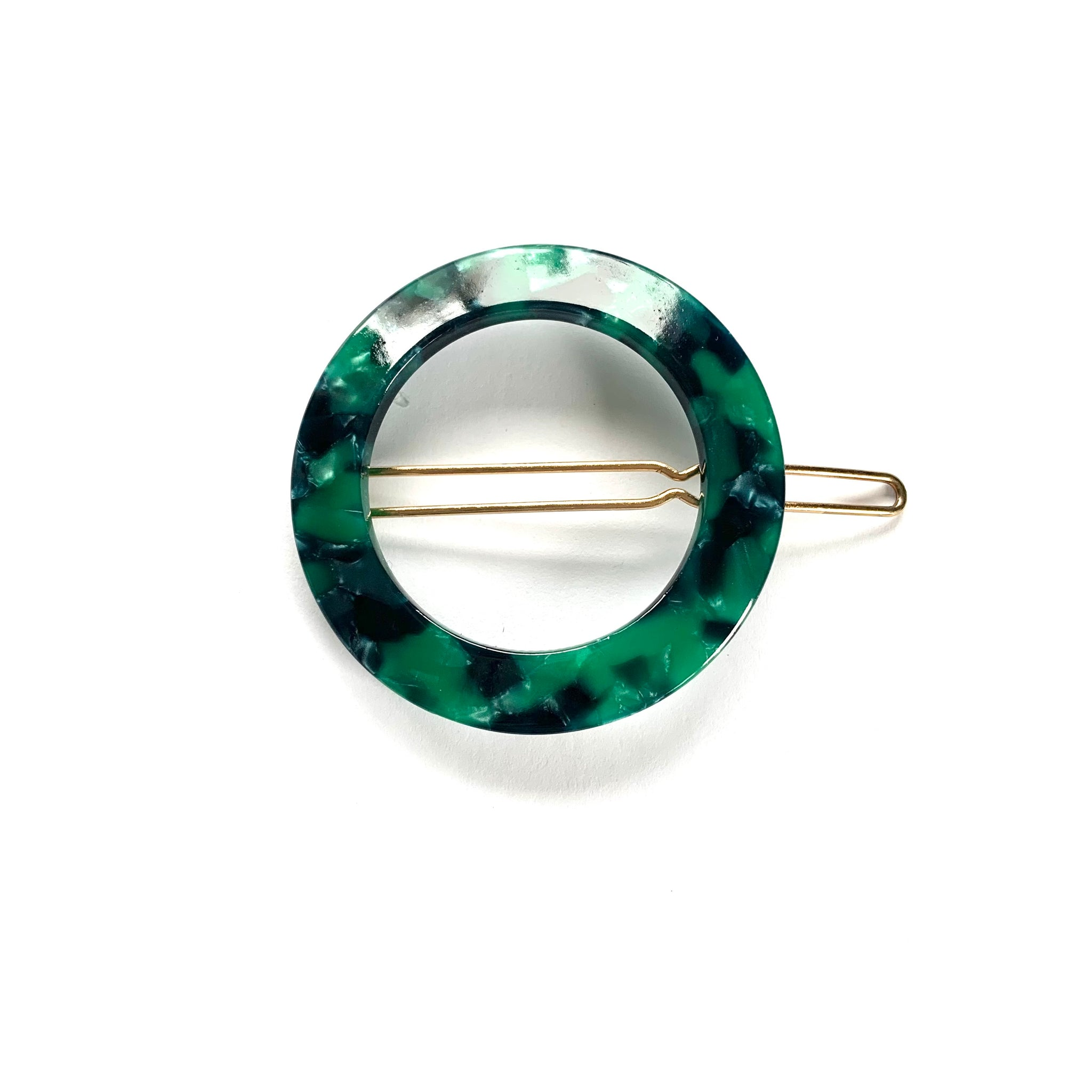 Shades of Green Circle Hair Clip