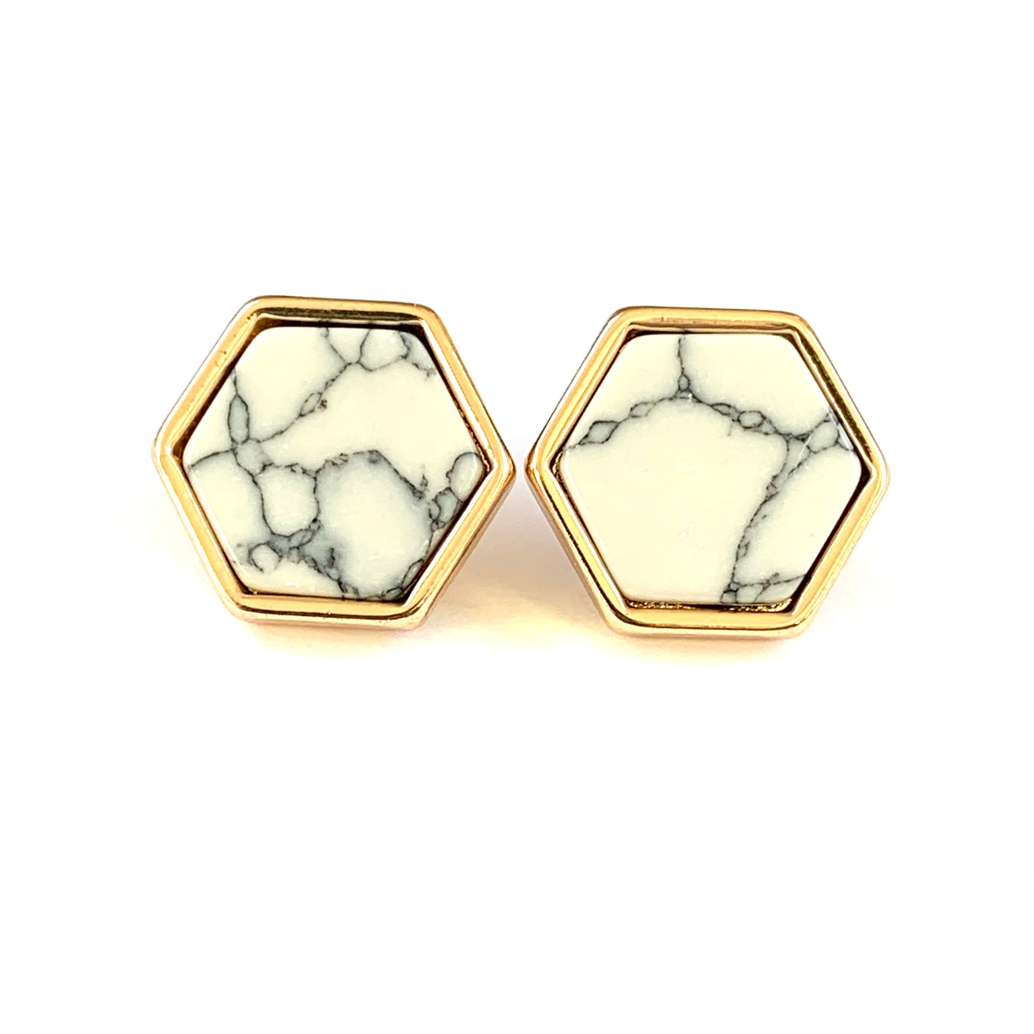 Hexagon Marble Earrings Gold