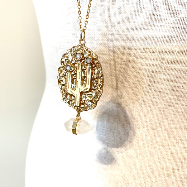 Chunky Cactus Pendant Necklace Gold