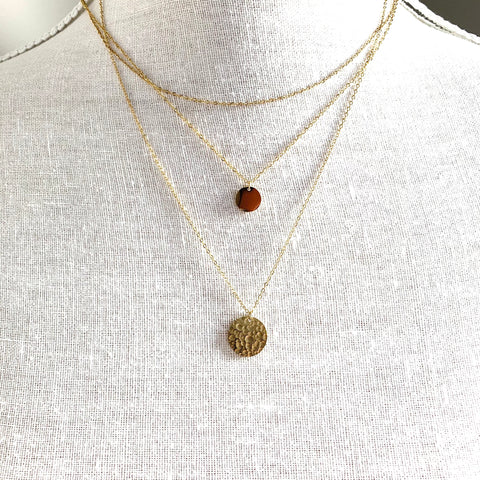Three Layered Necklaces Gold