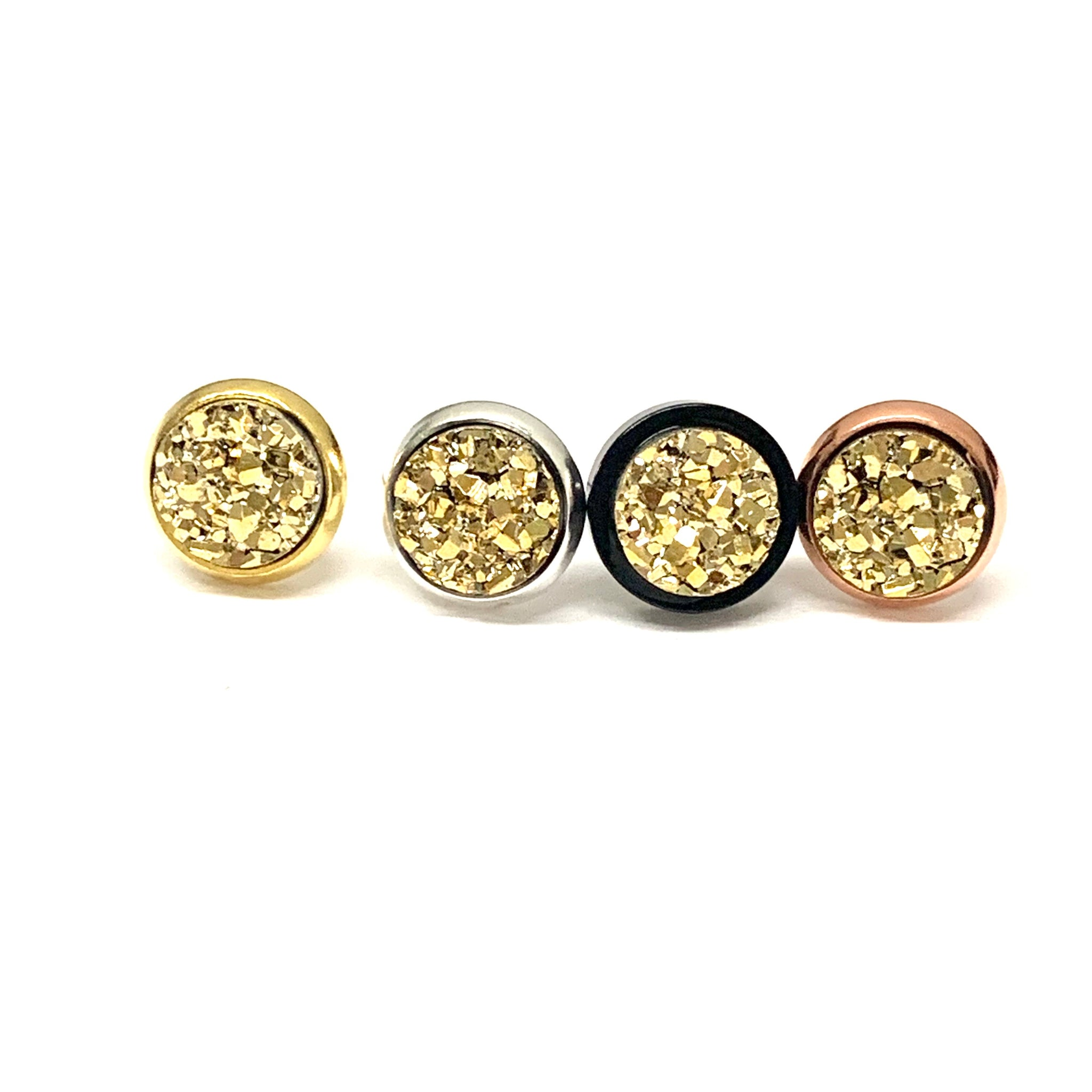 Gold Druzy Earrings 8mm