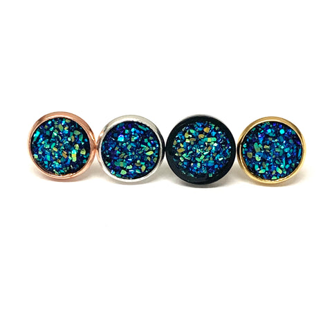 Blue Green Druzy Earrings