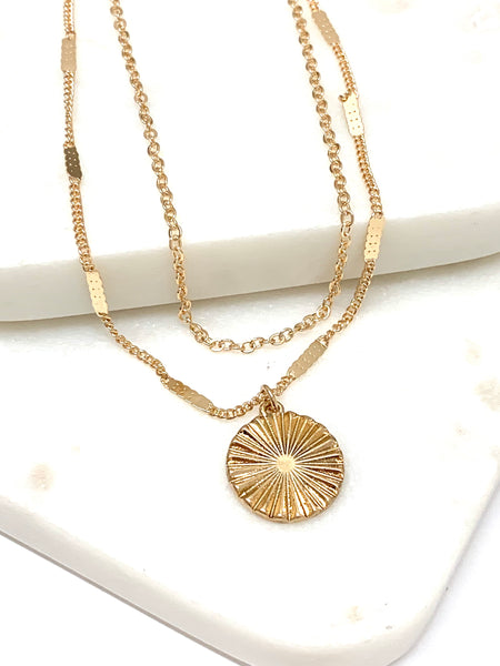Starburst Coin Layered Necklace