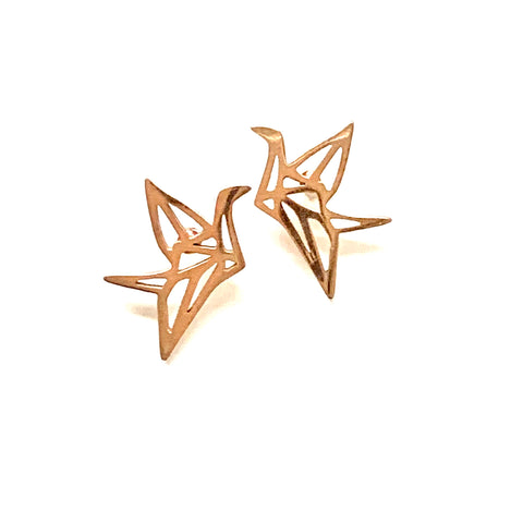 Rose Gold Crane Earrings