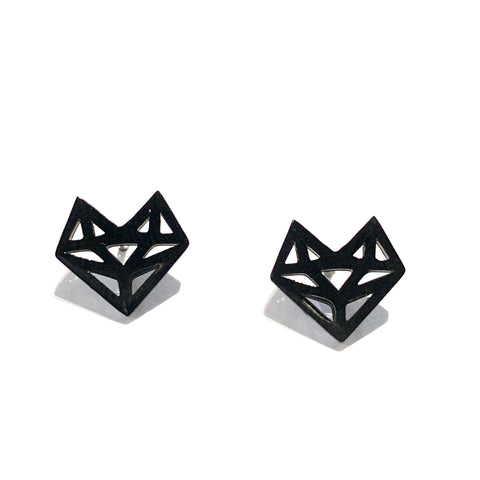 Geometric Fox Earrings Black