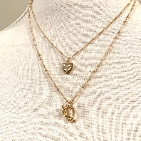 Heart Knot Layered Necklace Gold