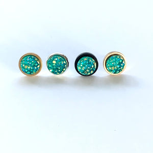 Teal Druzy Earrings
