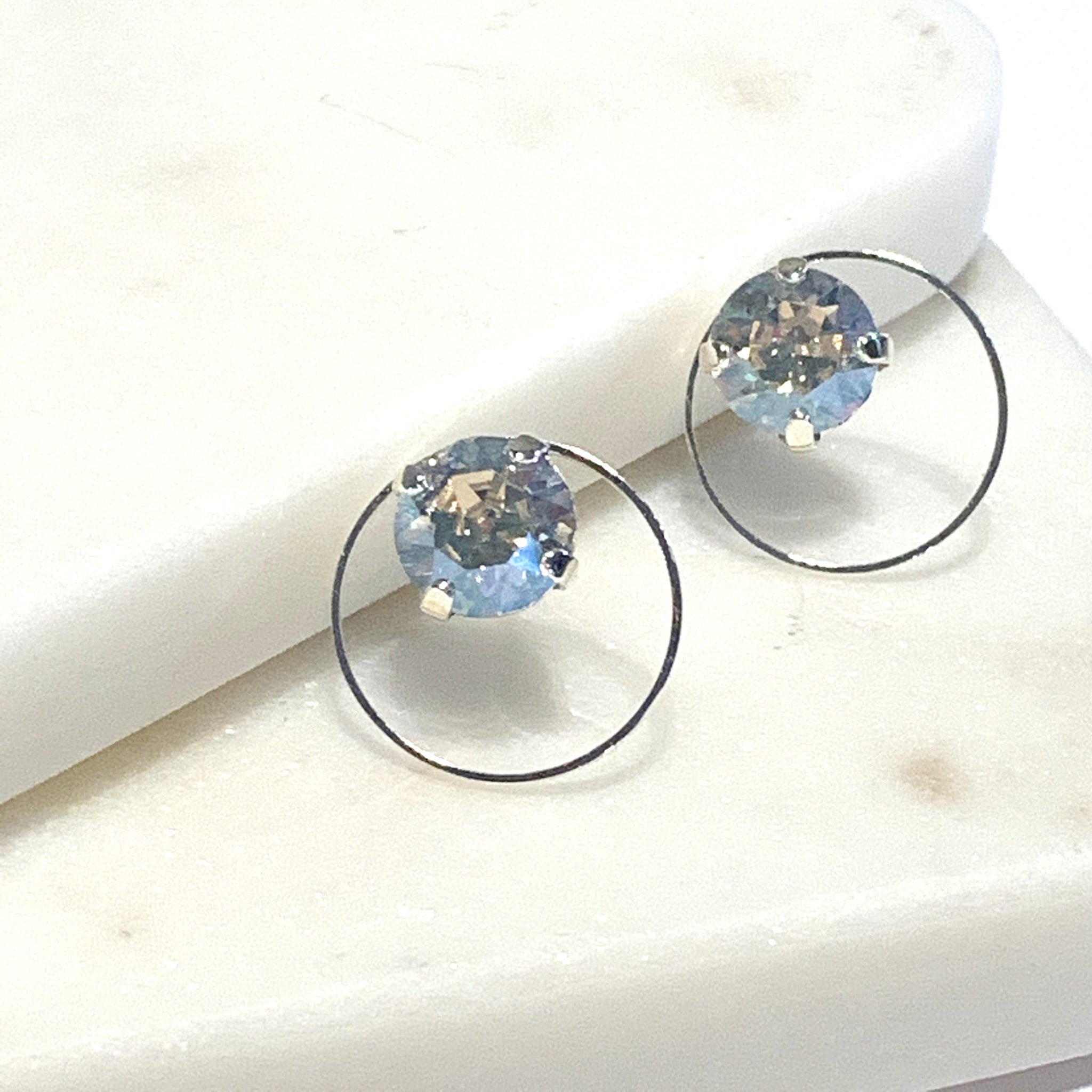 Silver Moonlight Swarovski Circle Earrings