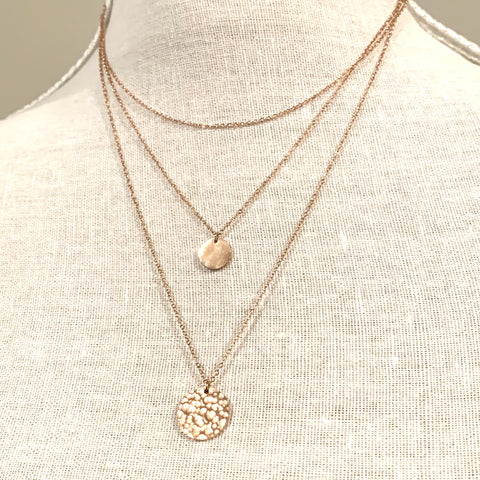 Three Layered Necklaces Rose Gold