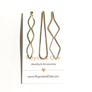 3 Hair Pins Gold
