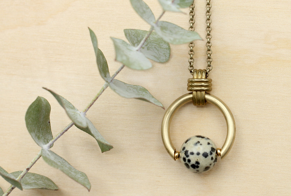 Dalmatian Jasper Infinity Necklace with Vintage Bass Knott Bail by Cival Collective – Milwaukee WI Women's Jewelry Store and Studio