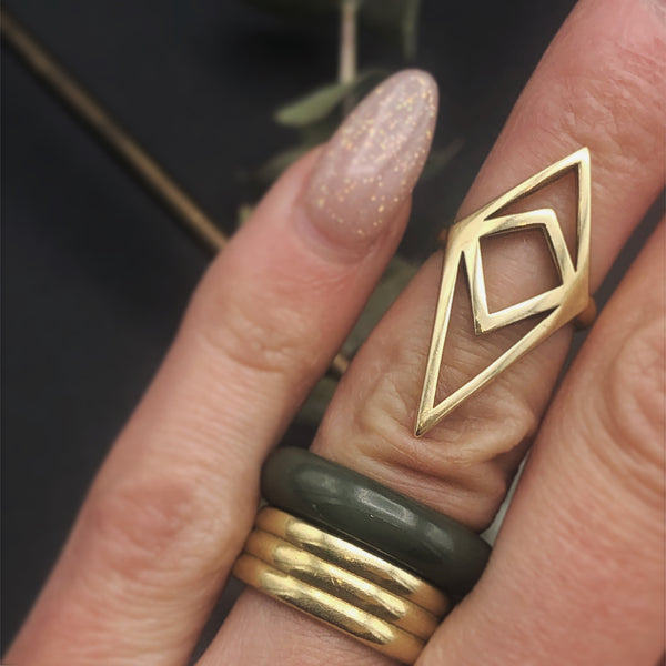 Brass cast midi ring by Milwaukee jewelry designers Cival collective. Form and function combined in this beautiful midi ring. Designed for tab top opening makes this the perfect  bartender accessory.