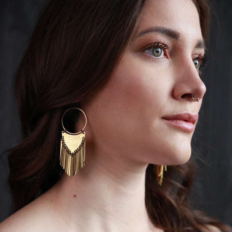 Fringe brass earrings handmade by jewelry designers, Cival Collective in Milwaukee, WI.