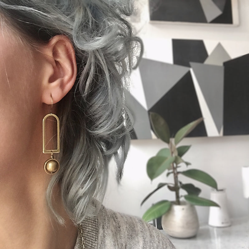 brass or jade round drop earrings hand made in the Midwest, Milwaukee WI, by Cival Collective.