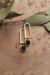"Pair of ""Nixon"" brass arch earrings with dark brown faceted smokey quartz rounds saddle set in brass rings & wire wrapped below arch."