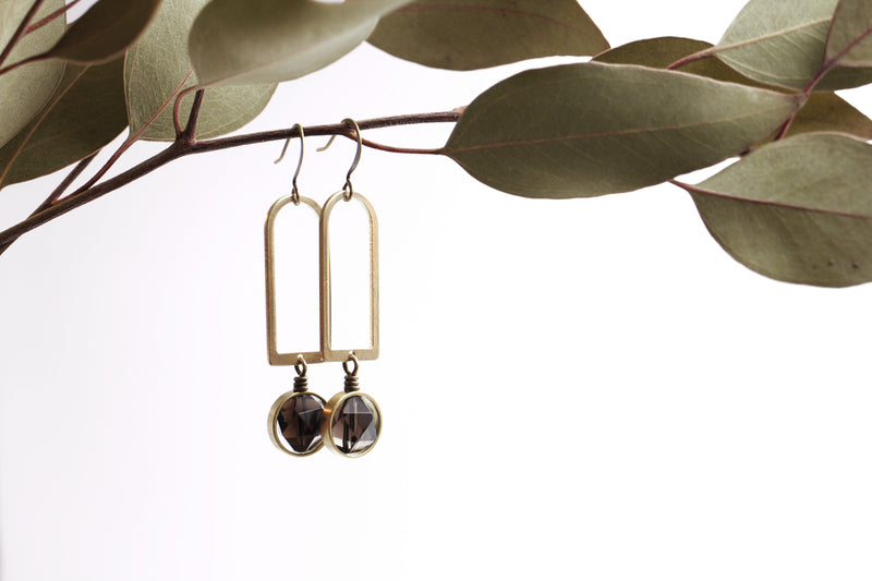 Modern brass, smokey quarts or jade healing stones with round drop earrings hand made in the Midwest, Milwaukee WI, by Cival Collective.