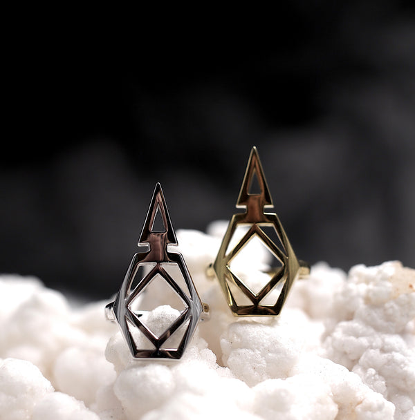 Geometric midi ring in brass or silver, designed to open metal drink tabs to save your hands and nails.