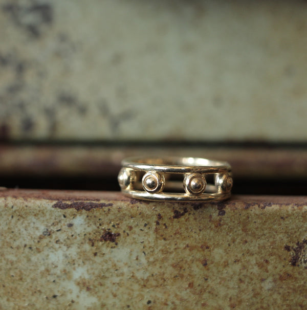 Cival Collective Jewelry design studio and boutique handmade designs. Modern cast brass ring. Classic design by Milwaukee, WI artists. Patterned stacking rings are comfortable and easy to wear.