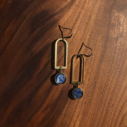 "Beautiful gem grade blue kayanite earrings set in brass windows with a 1"" drop"