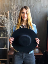 Rae Wide Brimmed Hat in Black