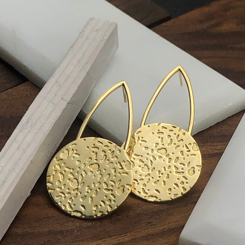 Modern textured cast brass post earrings by Milwaukee jewelry designers Cival Collective.