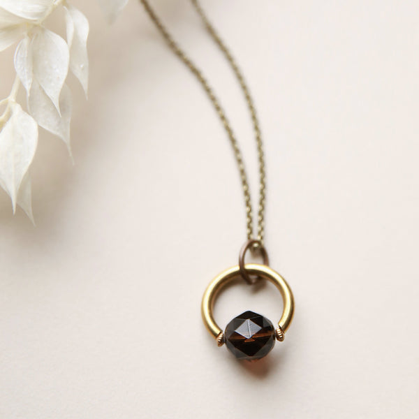 Beautiful faceted smokey quartz pendant necklace crafted by local Milwaukee Jewelry Designers, Cival Collective.