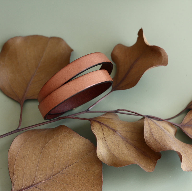 Tan 10mm wide leather bracelet double wrapped with magnetic clasp designed and made by CIVAL Collective.