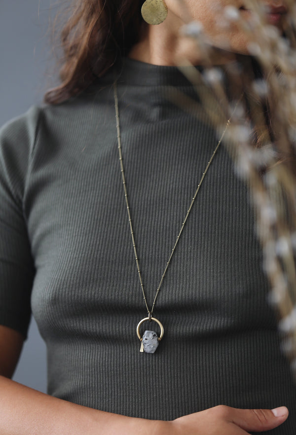 faceted quartz gemstone necklace made by hand in Milwaukee Wisconsin by local jewelry designers Cival Collective.