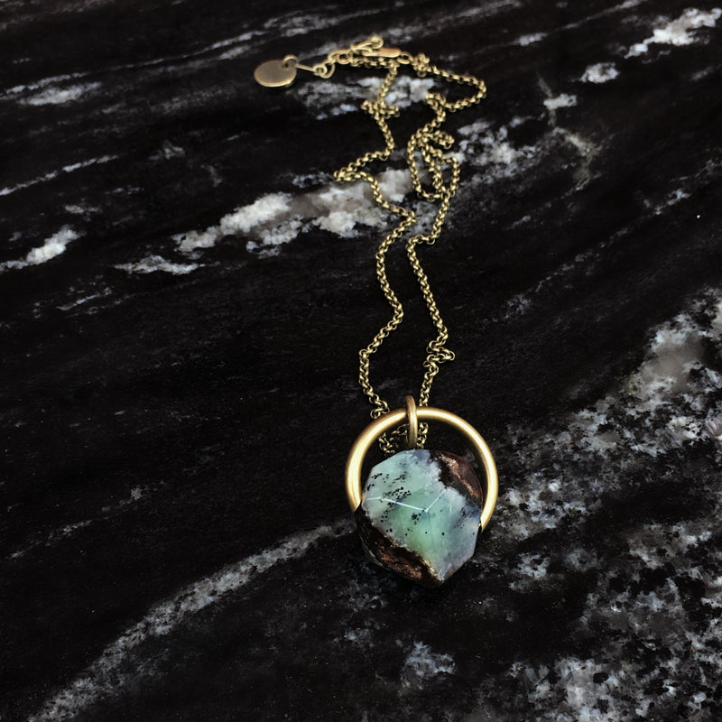 chrysoprase stone necklace hand made in the Midwest, Milwaukee WI, by Cival Collective.