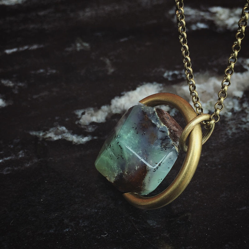 chrysoprase stone and brass necklace hand made in the Midwest, Milwaukee WI, by Cival Collective.