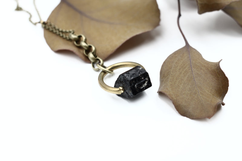 brass tourmaline or faceted pyrite gem stone necklace hand made in the Midwest, Milwaukee WI, by Cival Collective.