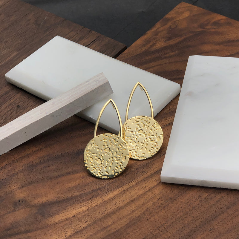 Elegantly designed modern textured cast brass post earrings by Milwaukee jewelry designers Cival Collective.