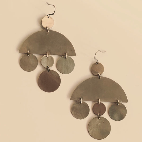 Brass earrings hand crafted by local Milwaukee Jewelry Designers, Cival Collective.