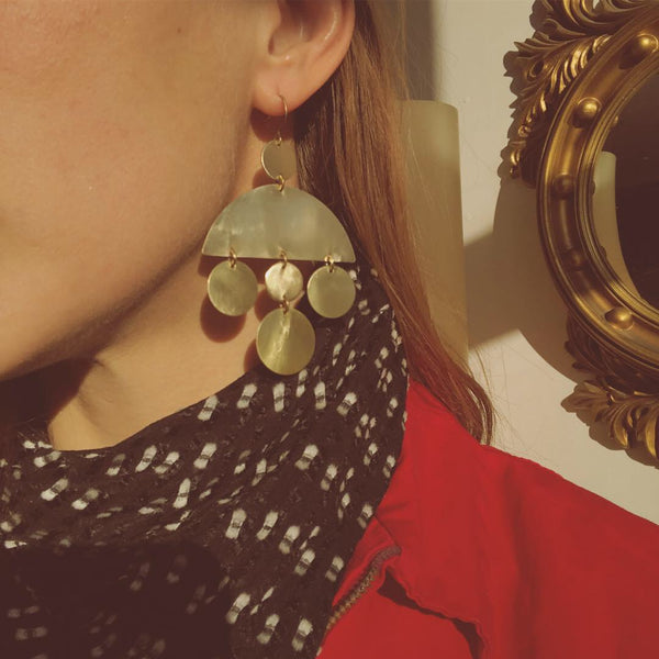 Brass earrings handmade by local Milwaukee Jewelry Designers, Cival Collective.