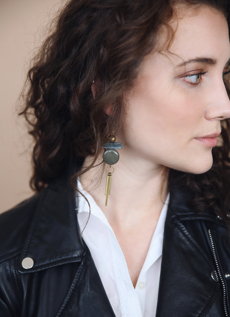 long fringe earrings handmade with brass, kyanite, and jade stone in Milwaukee, Wisconsin by local designers from Cival Collective.